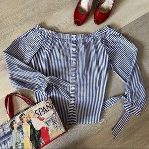 HAUTE MONDE Off Shoulder Blue & White Stripe top